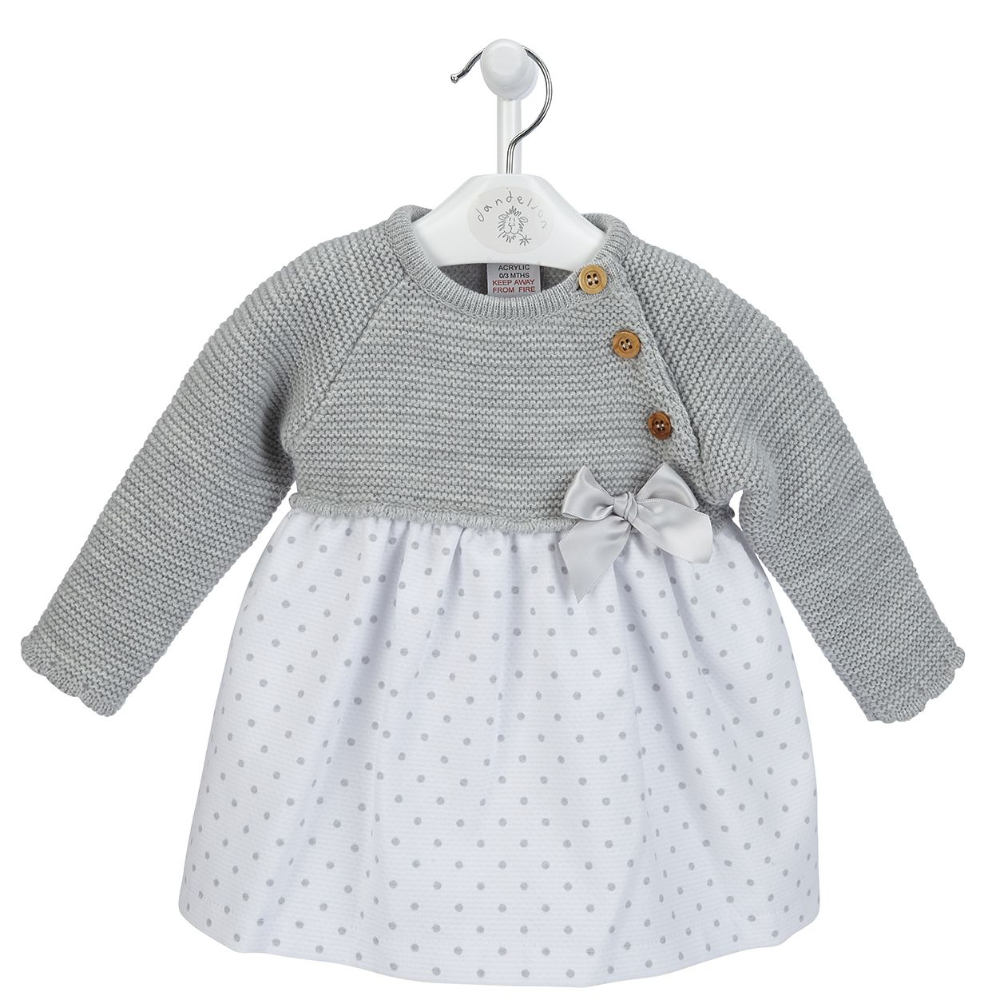 A3409  Girls  Spotty dress with knitted top