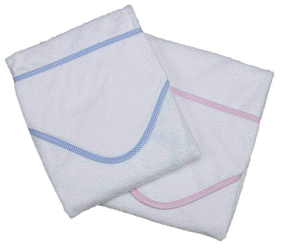 B106 gingham edge baby towels
